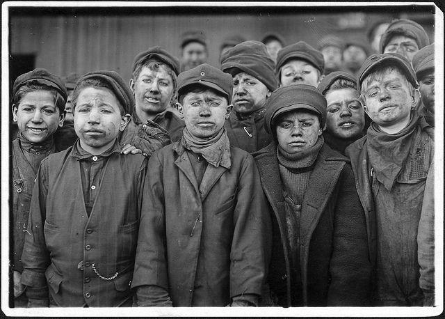 Breaker boys. Smallest is Angelo Ross. Hughestown Borough Coal Co. Pittston, Pa, January 1911, via Flickr.