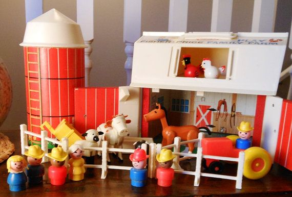 Vintage Fisher Price Little People Farm Playset