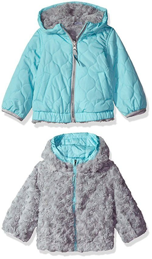 d7466fc0e3e3 London Fog Baby Girls Reversible Quilted Jacket With Hood