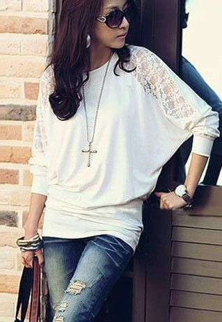 Elegant Loose Fitting Pure Lace Spliced Batwing Sleeve T-shirt