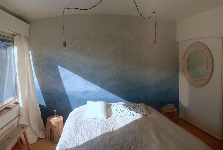 Bedroom nearly finished. #diy #ombrewall #blue #cobalto #kalklitir #wallpaint #treestump #nightstand #table #lights #finland #skandinavian #interior #marimekko