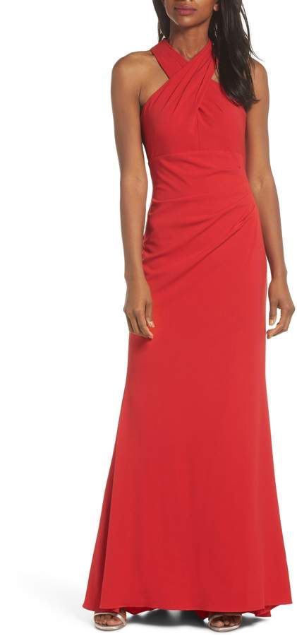 d5a01daf2ee0 Eliza J Side Pleat Crossneck Gown | Dresses | Gowns, Dresses, Dress ...
