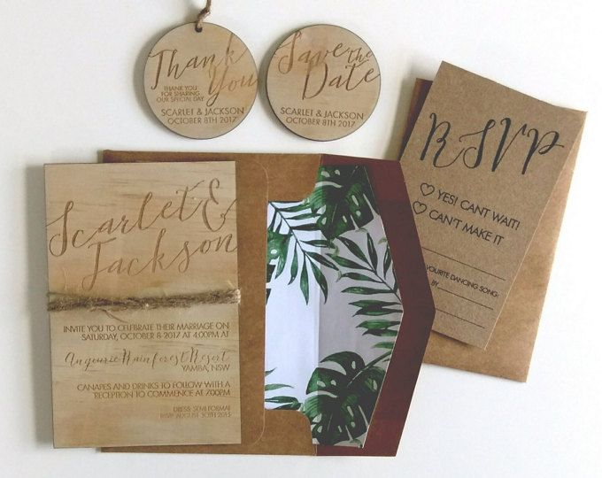 Wood wedding invitation. Tropical, beach, rustic wedding invitation.