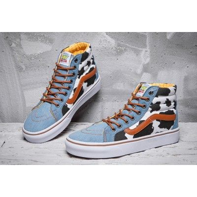be0e87618b ... Vans x Toy Story Woody Cow Blue Denim SK8 High Skate Shoes Vans ...