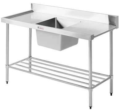 Commercial Stainless Steel Bench - Simply Stainless SS08.1200 Dishwasher Inlet Sink Bench - www.hoskit.com.au | Hoskit Online Store | Sydney, Melbourne, Perth, Brisbane