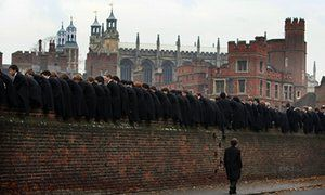 Pupils at Eton watch the traditional wall game.