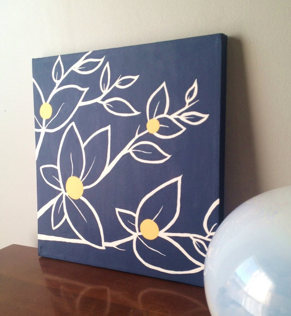 12x12 Navy Blue, White and Yellow Floral Abstract Art Original Acrylic. $35.00, via Etsy.