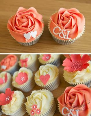 Coral Wedding cupcakes. What are your cupcakes gonna look like Steph?