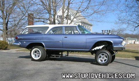 Subaru Station Wagon jacked up | 1961 DODGE WAGON DRAGSTER - ALL JACKED UP