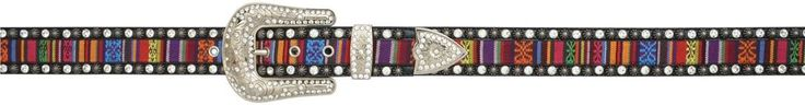 Angel Ranch Women's Multi-Colored Fabric Inlay Fashion Bling Belt A3417