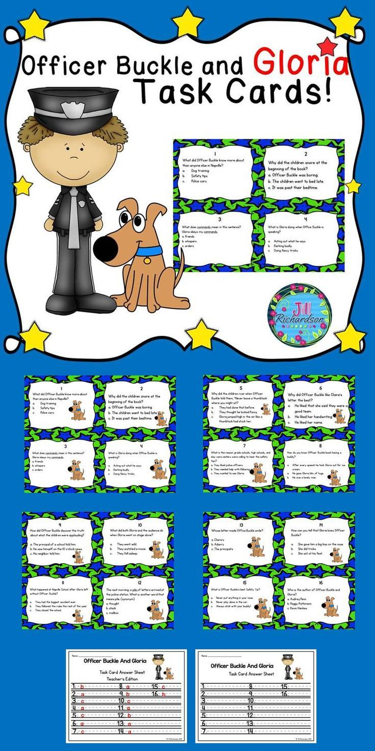 Officer Buckle and Gloria by Peggy Rathmann is a great book to read and use in this task card activity that is perfect for a literacy center! Great to use for establishing rules. TAKE A PREVIEW PEEK! The children can record their responses on the printable or in a reading response notebook. May enjoy playing Scoot! Included: 16 Comprehension Task Cards 1 Answer Sheet 1 Teacher's edition answer sheet  Print on cardstock Cut apart and laminate Place in literacy center