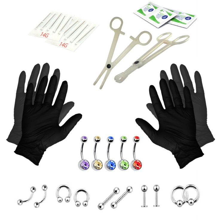 BodyJ4You® Body Piercing Kit Belly Tongue 5 Belly Ring Eyebrow Jewelry 14G 35 Pieces
