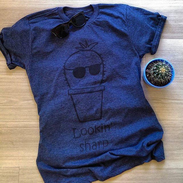 Lookin' Sharp tee in navy heather by PelicanAndWolf on Tee Public #pun #cactus #shades #fashion #tshirt #pelicanandwolf