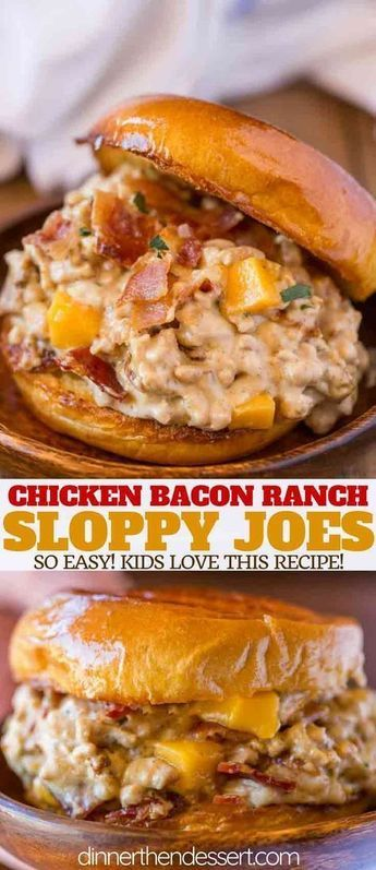 Chicken Bacon Ranch Sloppy Joes made with a creamy mozzarella ranch sauce, bacon…