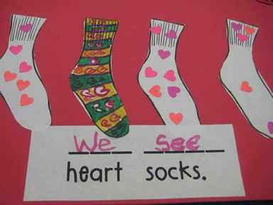 """Kinder by Kim: Silly sock sort, class made book to practice sight words """"we"""" and """"see""""."""