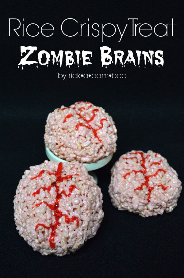Do you have zombies in your life?  Do the love brains?  Why not make them some rice crispy treat zombie brains?