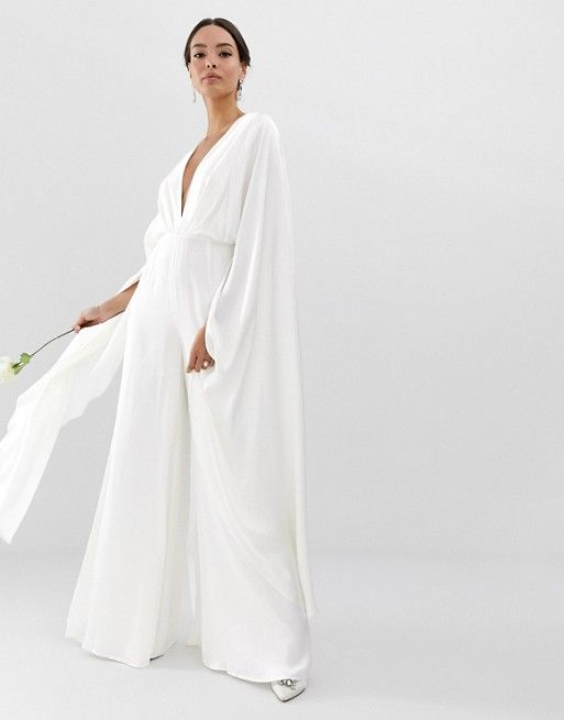 403a4555f6f EDITION cape sleeve wedding jumpsuit in satin in 2019