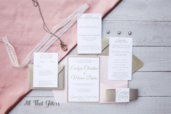 Gold wedding invitation pocketfold champagne by ATGInvitations