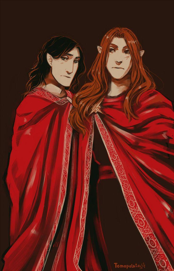 Maglor and Maedhros<<<<ok well...one of us is going to have to go change...Brothers or not.