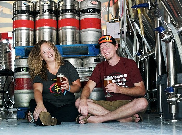 Devon Kreps and Justin Stange of downtown Dunedin's  7venth Sun Brewery. - KEVIN TIGHE