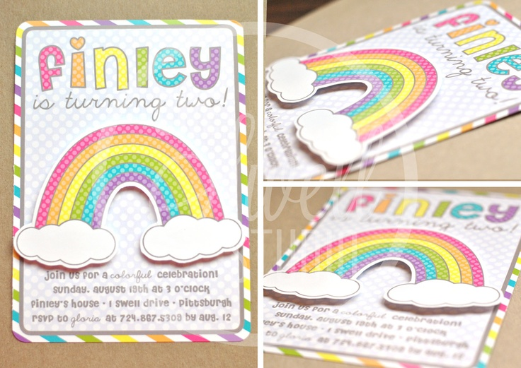 159 best RAINBOW party images – Rainbow Themed Birthday Invitations