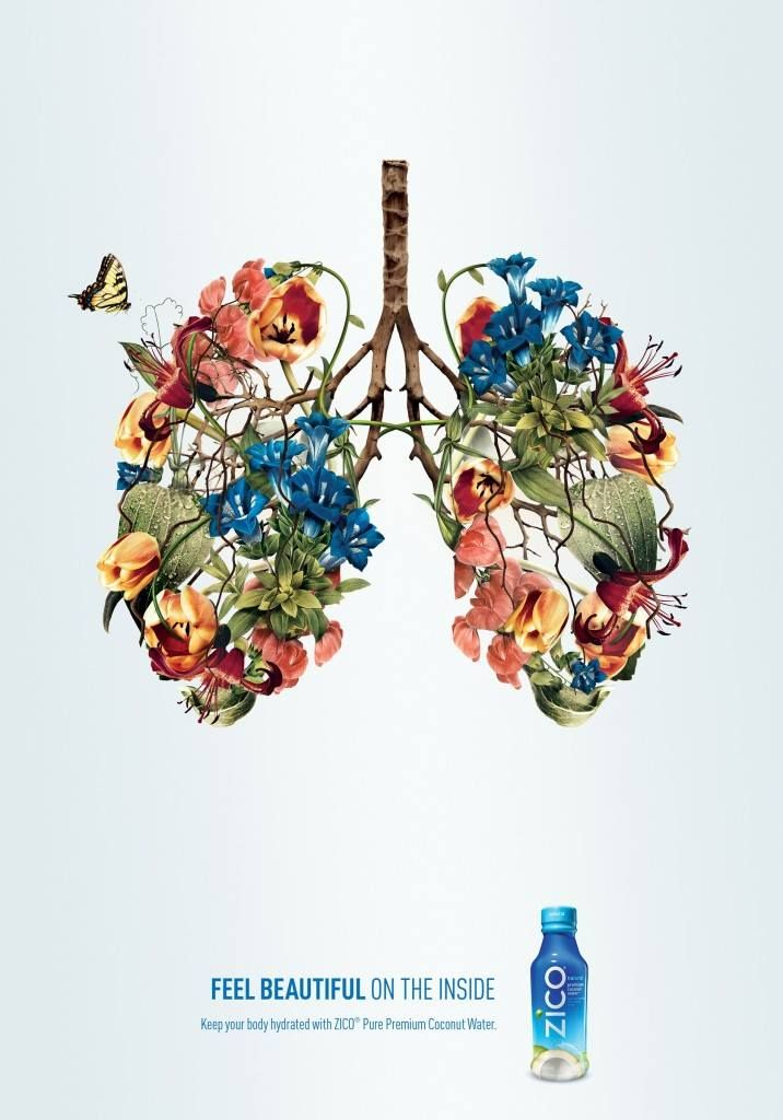 """Zico, Coconut water, July 2015, Health conscious people, specifically women  Portraying beautifully illustrated flower lungs -  or a heart and a brain-, Zico suggests that by drinking the coconut water, consumers can achieve healthiness - inner beauty. Zico's """"Feel Beautiful on the Inside"""" print ad does not only fit to the current health-conscious trend, but the image of elegant flower-organ also recalls feelings of being treated by nature and becoming healthy and beautiful by drinking Zico."""