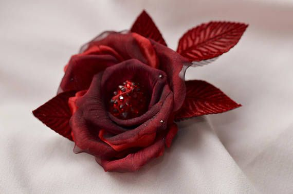 Red Rose  Flower Hair Clip  Silk Roses  Red Fascinator