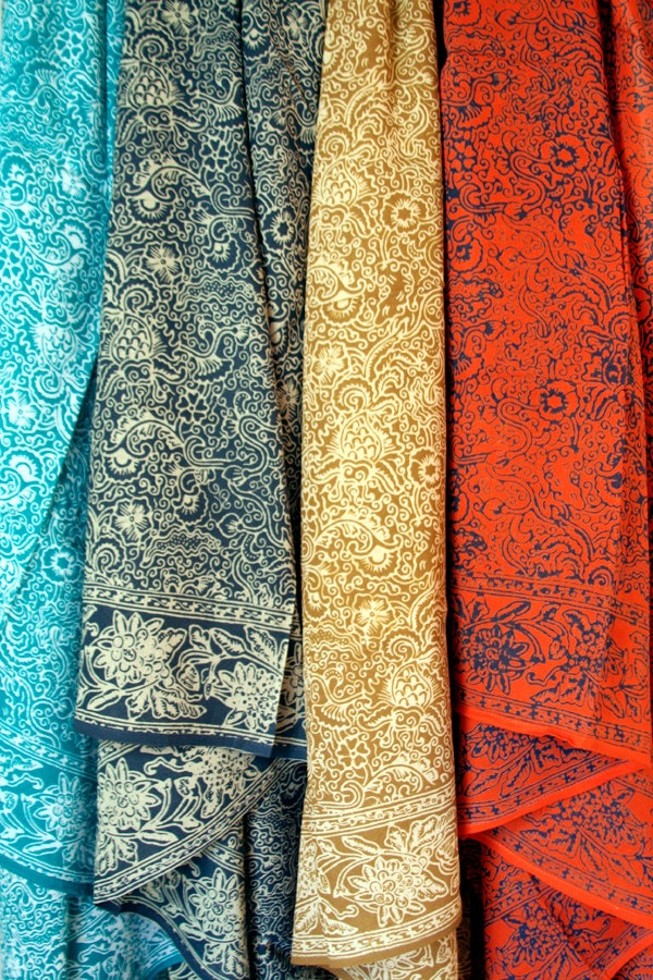 Orange Sarong - Womens Clothing Wrap Skirt - Pareo - Beach Sarong - Batik Sarong - Orange and Blue Pareo.