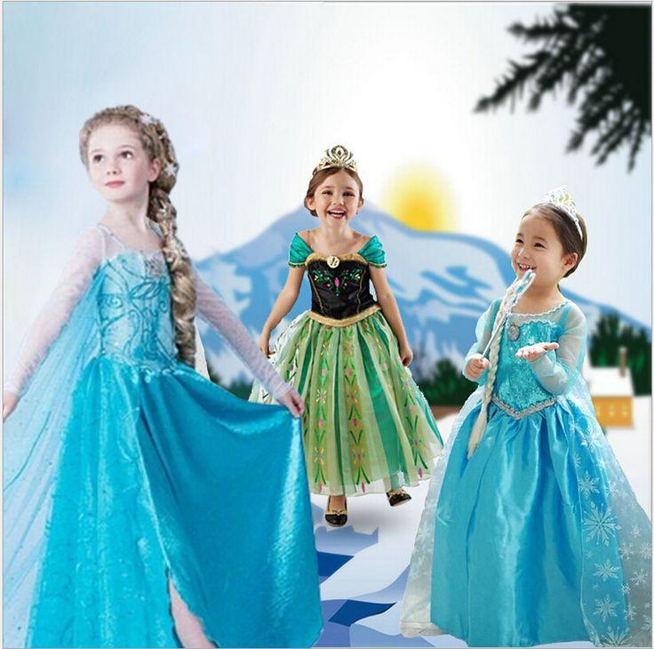 Nueva niña Anna & Elsa vestido de alto grado de malla de lentejuelas muchacha de la princesa vestidos para el espectáculo traje del…