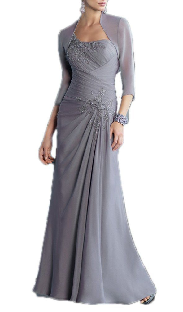 CCHAPPINESS Women's Chiffon Mother of the Bride Dress with Jacket Grey US 14