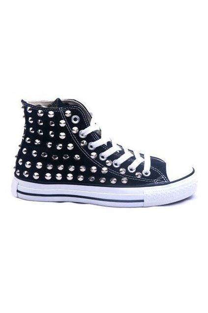 Rivets Black Canvas Shoes  $104.99  romwe.com  #romwe