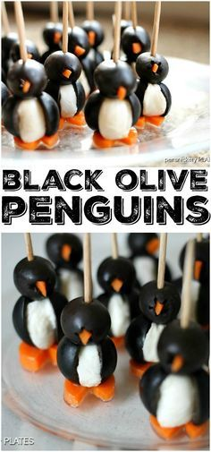 Simple Olive Penguins made with black olives, mozzarella balls, and carrots, are adorable and make a fun appetizer! | Persnickety Plates
