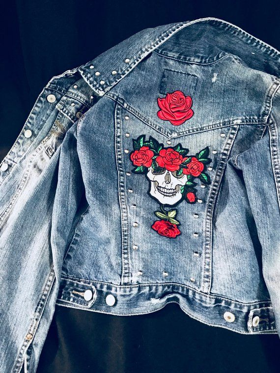 bd69d26b2 Studded Denim Jacket, Studded Jean Jacket, Small, Skull with roses back  patch