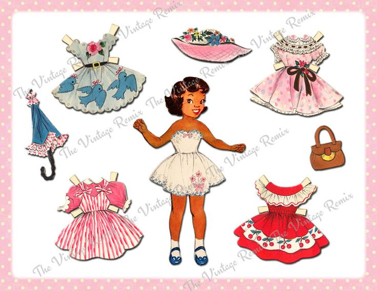 instant download printable paper doll african american girl digital collage sheet altered