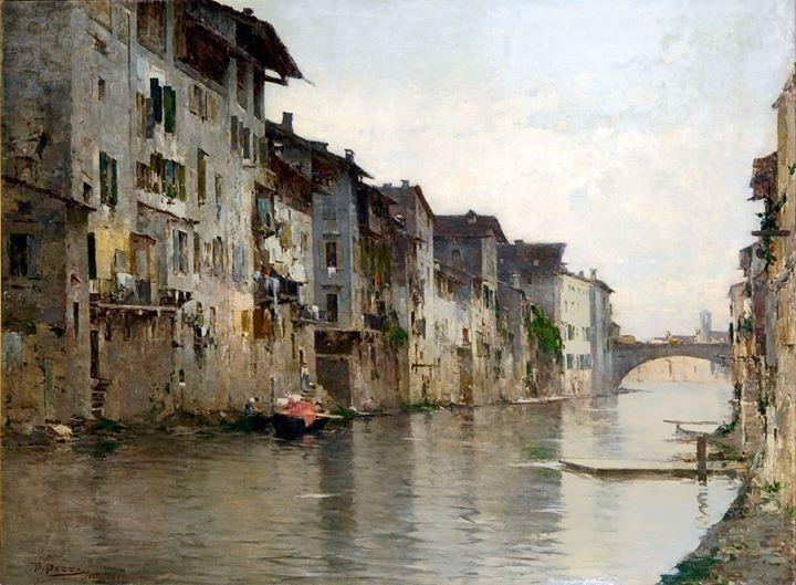 Bartolomeo Bezzi, L'acqua morta, 1884, collezione privata, olio su tela, 110 x 150 cm