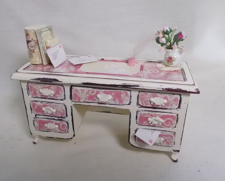 Dolls house miniature Shabby-Chic rose and cream desk with accessories | eBay