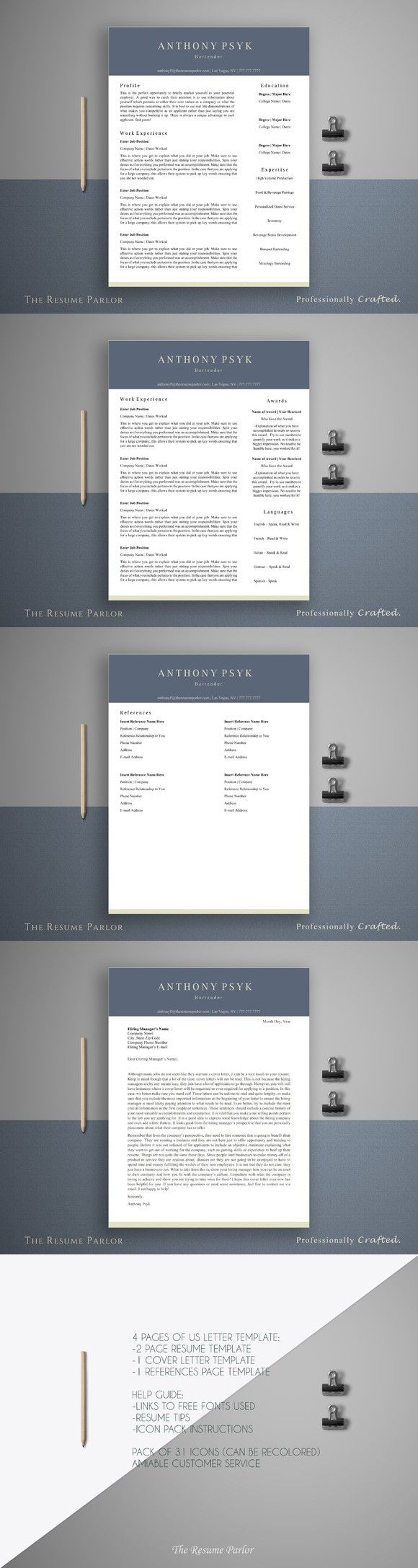 Resume Template 4 Page | Bartender. Printables. $15.00