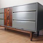 Gray + Wood Mid Century Modern Dresser / Credenza