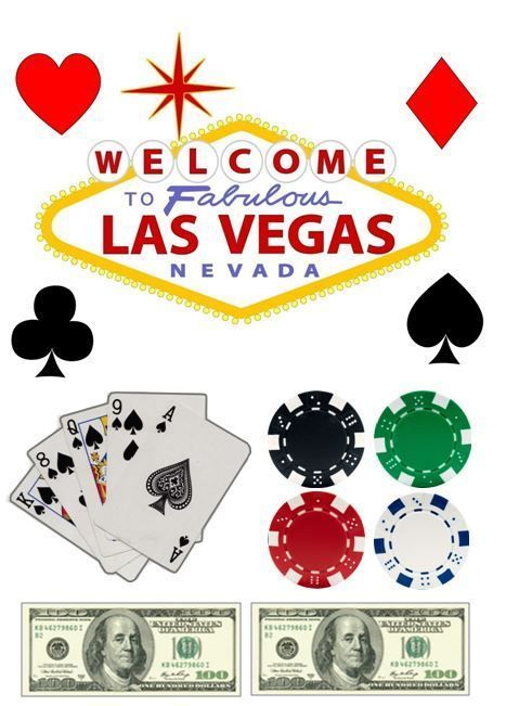 Las Vegas Sign, Chips, Cards Edible Icing Decor for Casino Themed Cake