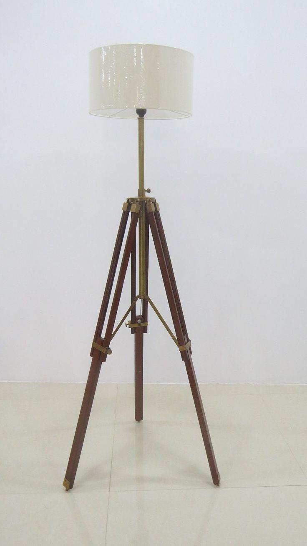 Tripod floor lamp in living room - Surveyor Tripod Floor Lamp For Living Room Cherry Finish Wood