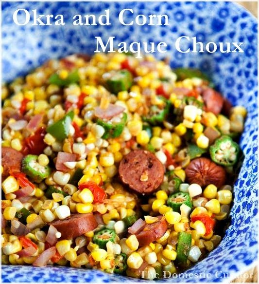 "Okra and Corn Maque Choux (pronounced ""mock shoe"") is a non-slimy okra recipe. It is a classic Cajun dish of sautéd fresh vegetables. Great for a quick and easy weeknight meal! The Domestic Curator"
