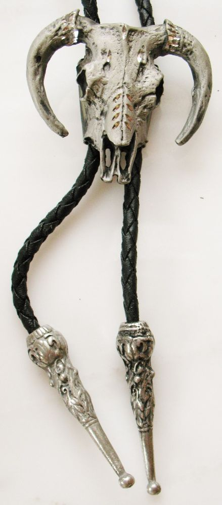 Metal Carved BUFFALO HEAD Mens Bolo Tie Silver Tone Scull Bones Skeleton Cool