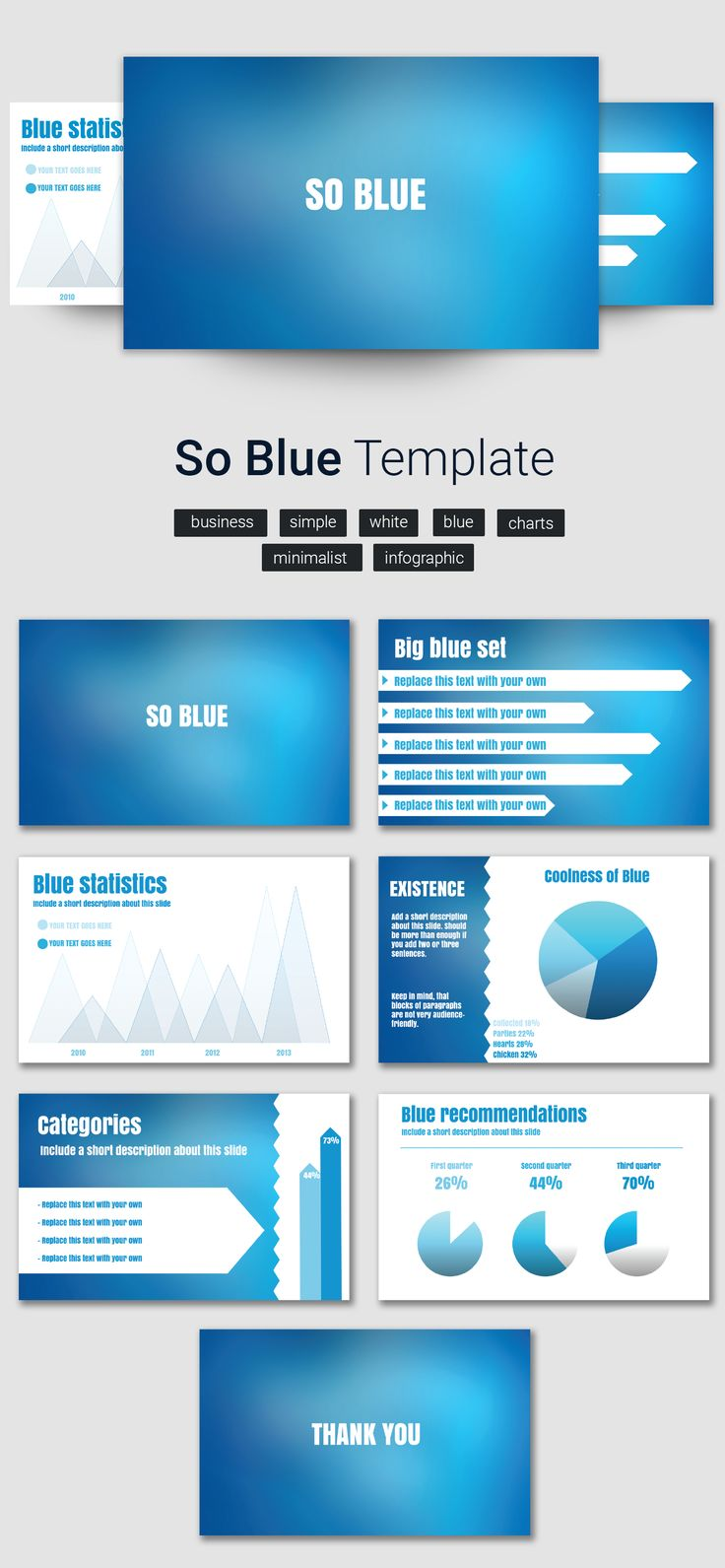 Want to boost productivity? Choose a blue based color scheme for your slides.