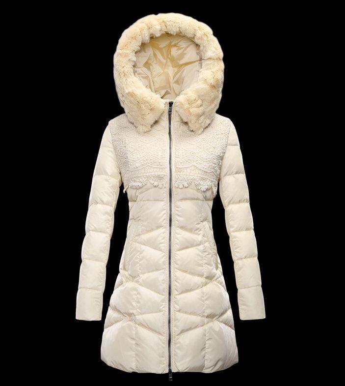 Le nouveau Moncler manteau long femme hiver capuche de fourrure bl personnalisé