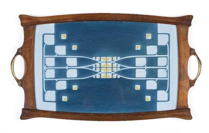 * Tray. An Art Nouveau tray by Christian Neureuther, circa 1905,