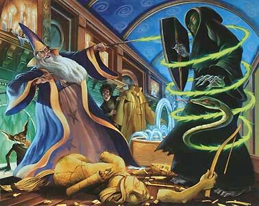 Harry Potter Illustration- Dumbledore's and Voldemort in the Ministry of Magic