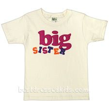 """Let your girl show off her Big Sister status proudly with this eco-hip Kandle Kids tee shirt! 100% organic cotton. Made in U.S.A. .  .     unbleached, organic cotton t-shirt .     short sleeves .     ribbed crew neck .     """"Big Sister"""" felt applique .  . The felt used on this garment is made of 100% post-consumer recycled PET bottles. The felt is also solution-dyed, which means no dye-runoff and no bleeding in the wash."""