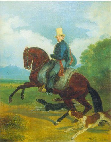 RETRATO ECUESTRE DE JORGE HUNEEUS  oleo sobre tela  Colección Particular