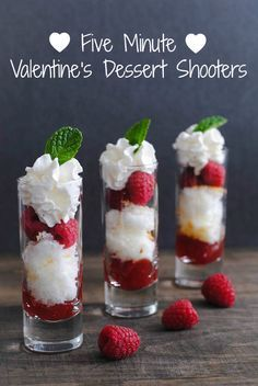 Five-Minute Valentine's Day Dessert Shooters - A simple, fresh, fast and sweet treat for your Valentine! | foxeslovelemons.com