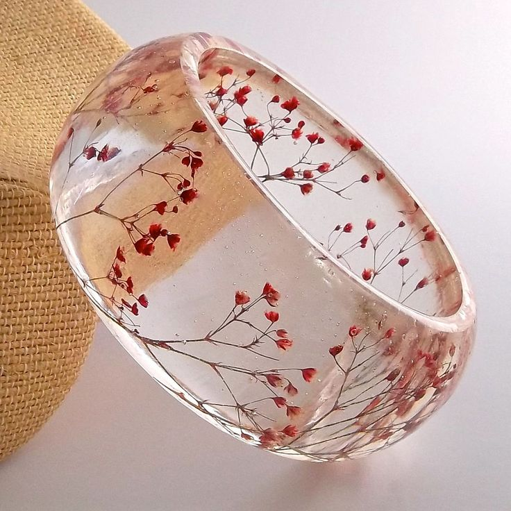 Red Resin Bangle. Chunky Bangle with Pressed Flowers